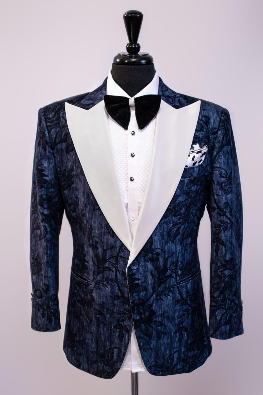Blue Floral Print Tuxedo