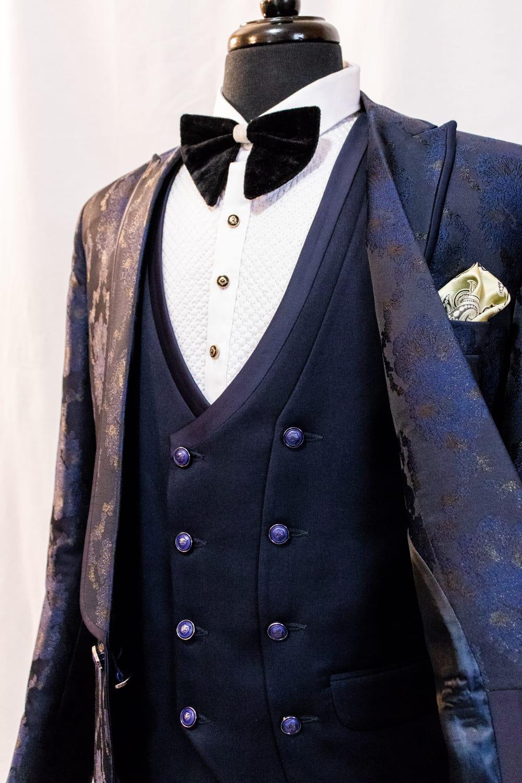 Floral Print Tuxedo Three Piece Suit